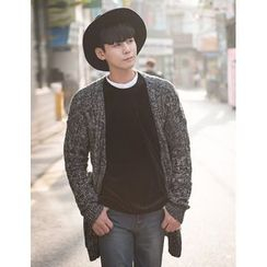 STYLEMAN - Open-Front Cable-Knit Cardigan