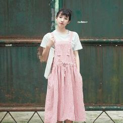 tete - Drawstring Check Suspender Skirt
