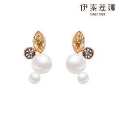 Italina - Faux Pearl Rhinestone Earrings