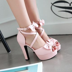 Pastel Pairs - Bow Peep-Toe High-Heel Sandals