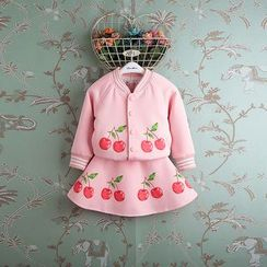 Kidora - Kids Set: Cherry Print Baseball Jacket + Cherry Print A-Line Skirt