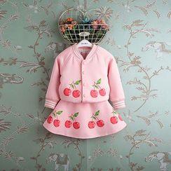 Kidora - 小童套装: 樱桃印花棒球外套 + 樱桃印花A字裙