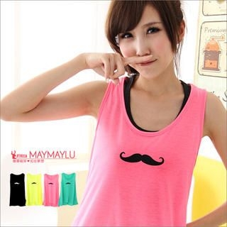 Maymaylu Dreams - Mustache-Print Long Tank Top