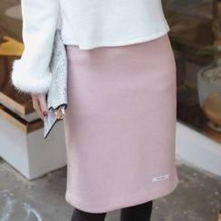 Seoul Fashion - Wool Blend Handmade Pencil Skirt