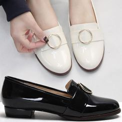 Reneve - Round-Toe Hoop-Accent Patent Loafers