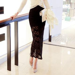 vivaruby - Hook and Eye Long Lace Skirt