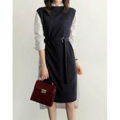 UPTOWNHOLIC - Sleeveless Tie-Side Knit Midi Dress with Belt
