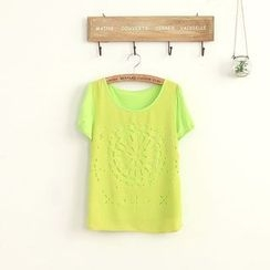 11.STREET - Perforated Short-Sleeve T-shirt