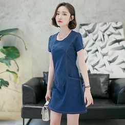 Cobogarden - Short Sleeve Denim Mini Dress