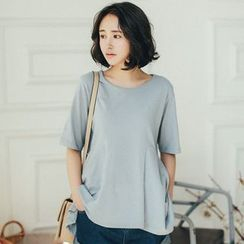11.STREET - Elbow-Sleeve Dip Back T-shirt
