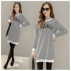 Angel Shine - Long-Sleeved Houndstooth Dress