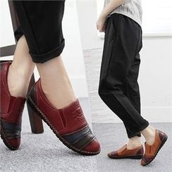 Reneve - Color-Block Genuine-Leather Slip-Ons