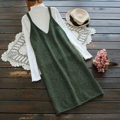 YOYO - 套裝:高領純色針織上衣 + 針織背帶連衣裙