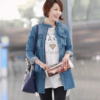 mayblue - Studded Denim Zip-Up Jacket