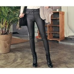 HOTPING - Band-Waist Faux-Leather Pants