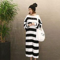 NANING9 - Off-Shoulder Striped Long Dress