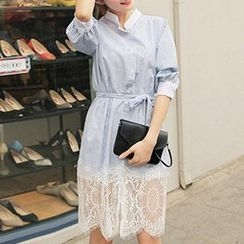 Tulander - Stripe Stand Collar Lace Hem Shirtdress