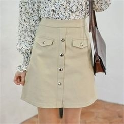 Styleberry - Buttoned A-Line Skirt