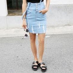 Koo - Distressed Denim Suspender Skirt