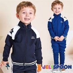 JELISPOON - Kids Set: Contrast-Trim Jacket + Sweatpants
