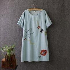 Blue Rose - Embroidered Short-Sleeve Dress