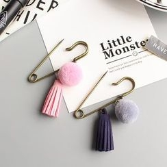 Hush Hush - Tasseled Pompom Safety Pin Brooch