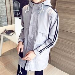 Bay Go Mall - Striped Hooded Windbreaker
