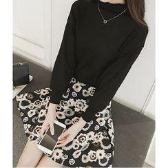 Oaksa - Set: Plain Mock Neck Long Sleeve Knit Top + Floral Print A-Line Skirt