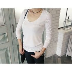 DANI LOVE - V-Neck Plain T-Shirt