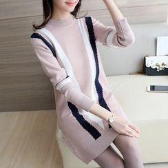 Ageha - Mock Neck Contrast Trim Sweater Dress