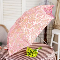 Timbera - Embroidered Floral Print Compact Umbrella