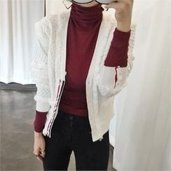 LIPHOP - Fringed Accent V-Neck Cardigan