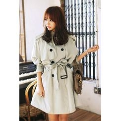IMvely - Mandarin Collar Trench Coat