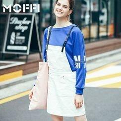 MOFFI - Faux Leather Strap Pinafore Dress