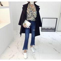 Miamasvin - Distressed Fray-Hem Boot-Cut Jeans