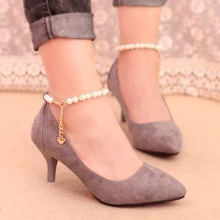 IYATO - Embellished Ankle Strap Kitten Heels