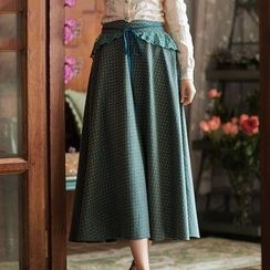 GU ZHI - Paneled Lace-Up A-Line Skirt