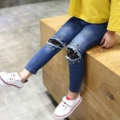 Matatabi - Kids Washed Distressed Studded Jeans