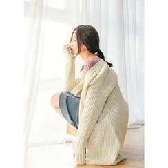 J-ANN - Open-Front Chunky-Knit Long Cardigan