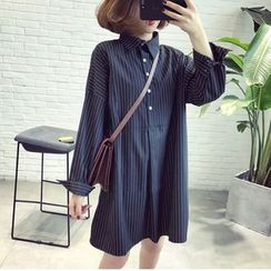 Cookadoo - Maternity Long-Sleeve Striped Shirt Dress