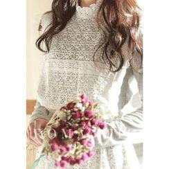 MyFiona - Set: Gathered-Waist Lace Dress + Long-Sleeve Dress