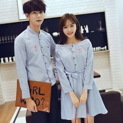 Azure - Couple Matching Number Embroidered Striped Shirt / Off Shoulder Dress