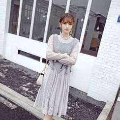 RUI - Set: Long-Sleeve Lace Dress + Asymmetric Vest