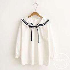 PANDAGO - Tie Neck Chiffon Shirt