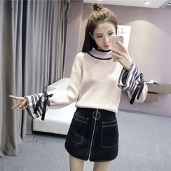 Angel Shine - Bow Stripe Bell-Sleeve Knit Top