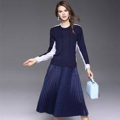 Ozipan - Set: Panel Sweater + Pleated Skirt
