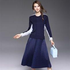 欧依潮派 - 套装: 拼接毛衣 + 多褶半裙