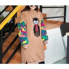 Eva Fashion - Camouflage Panel Fleece Dress