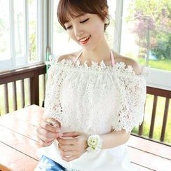 Dodostyle - Lace-Panel Off-Shoulder Top