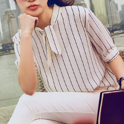 Shimi - Elbow-Sleeve Striped Blouse